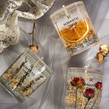 Flower Fruit Essential Oil Scented Candle Transparent Gold Foil Wedding Decoration Candle Smokeless Aromatherapy Home Candles 2 1inch round magic cube candle soy wax aromatherapy candles scented candle relaxing birthday gift