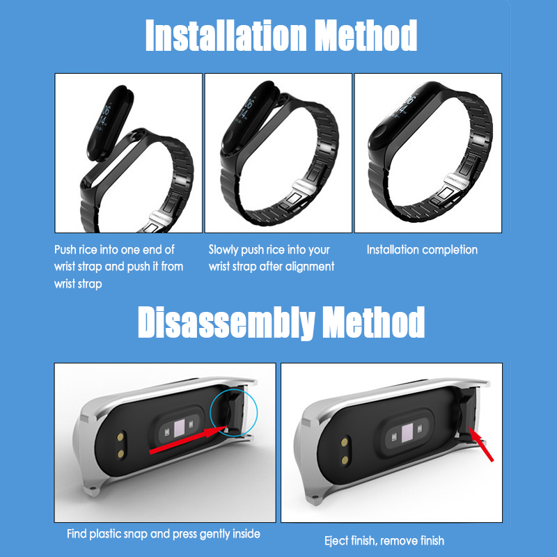 For Xiaomi Mi Band 3 4 Metal Strap Wristband Stainless Steel Buckle Replacement Strap Smart Watch Bracelet Accessorie For Xiaomi