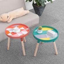Журнальный столик сбивающийся круглый 3 ножки современный минималистичный домашний декор центральный стол маленький круглый деревянный столик