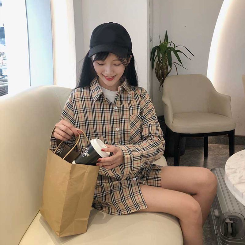 Women's Shirt Plaid Long Sleeve  Korean Style Casual Style For Female