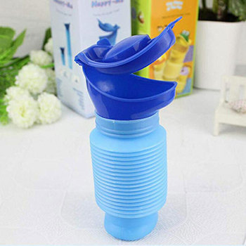 Washable Male Female Emergency Portable Urinal Retractable Pee Bottle For Travel Camping Car Toilet 750ml Blue Urinal Bottle portable emergency urinal toilet potty for baby child kids car travel camping and toddler pee pee training cup for boys girls