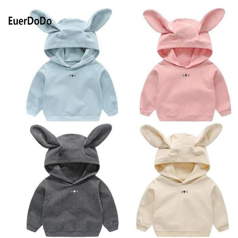Infant Sweatshirts Coat Kids Hoodies Baby Girl Boys Pollover Outwear Rabbit Ears Clothes Children's Pink Costume Tops