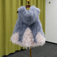 Autumn Winter Womens Vest Sweater Fur Coat Elie Tahari Resort Ladies Medium Length Hooded Jacket Plus Size True Fire Feather New