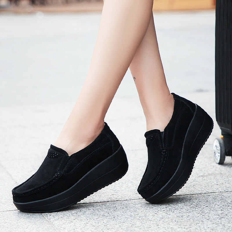 flat platform shoes black