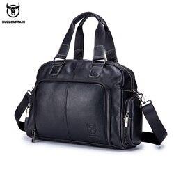 BULLCAPTAIN мужской кожаный портфель, используется для ноутбука диагональю 14 дюймов, деловая сумка-мессенджер для отдыха и путешествий
