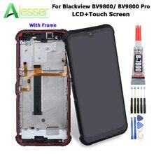 Alesser Blackview BV9800 LCD 디스플레이 및 터치 스크린 프레임 + 도구 및 접착제 Blackview BV9800 프로 전화 액세서리