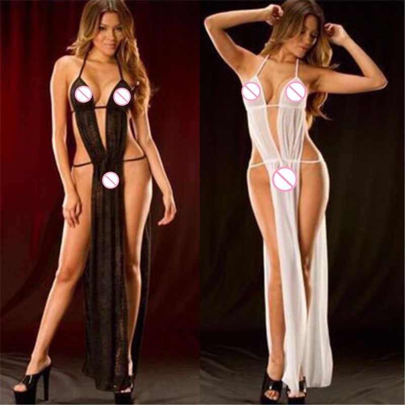 חלוק שחור שקוף נשים של תחתונים סקסי ארוטי הלבשה תחתונה תחרה Babydoll שמלה סקסית כותנות לילה ארוך לילה שמלת הלבשת
