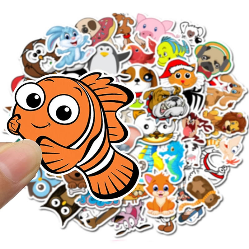 50pcs/Pack Cute Waterproof PVC Animal Clownfish Graffiti Stickers Waterproof Skateboard Suitcase Guitar Funny Sticker Kid Toy
