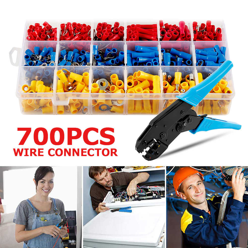 700pcs Wire Connector with Hand Ferrule Crimper Plier Crimp Tool Kit Set Connectors Kit +1Pc Electrical Crimping Plier Tools
