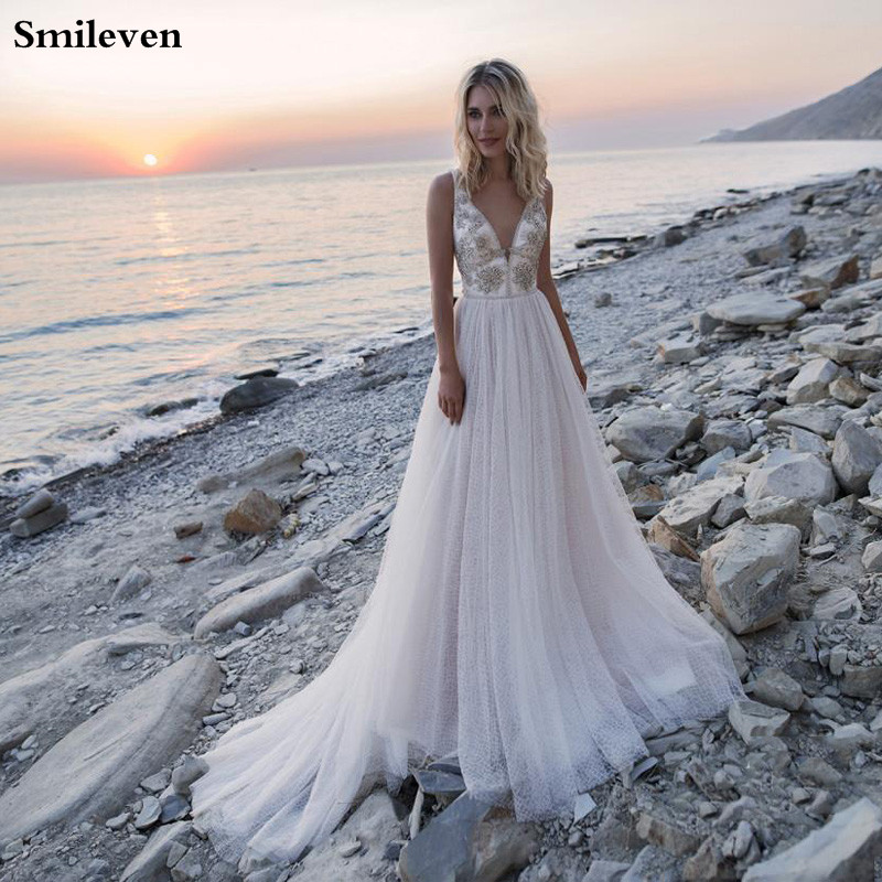 Smileven Double Shoulder Princess Wedding Dress Beach 2020 Boho Crystal Bride Dresses Vestido De Casamento A Line Wedding Gowns