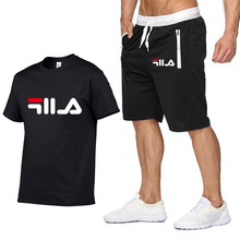 2019 New Fashion Sportsuit And Tee Shirt Set Mens T Shorts + Short Pants Men Summer Tracksuit Casual Brand Shirts