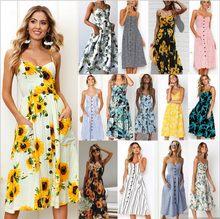 Robe de plage à fleurs pour femmes, col en V, dos nu, style Boho, boutons, blanc, ginseng, marguerite, ananas, mi-longue, 2021
