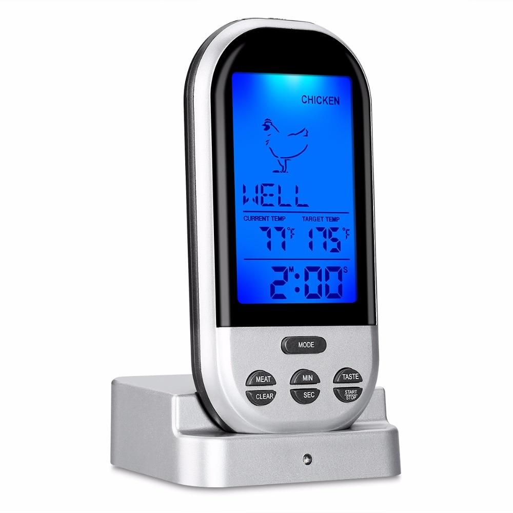 Sıcak satış kablosuz uzaktan kumanda sigara içen termometre mutfak gıda pişirme/fırın/et barbekü/ızgara title=