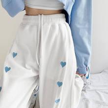 Moda cintura alta reta calças femininas cor sólida casual coreano calças soltas elthtic cintura pantalones estilo coreano corredores