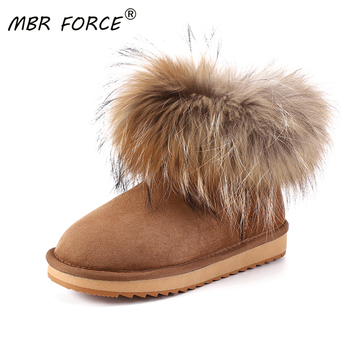 MBR FORCE Girls Fox fur Ankle Winter Suede Shearling snow boots for women genuine sheepskin leather Wool lined winter shoes - discount item  66% OFF Women's Shoes