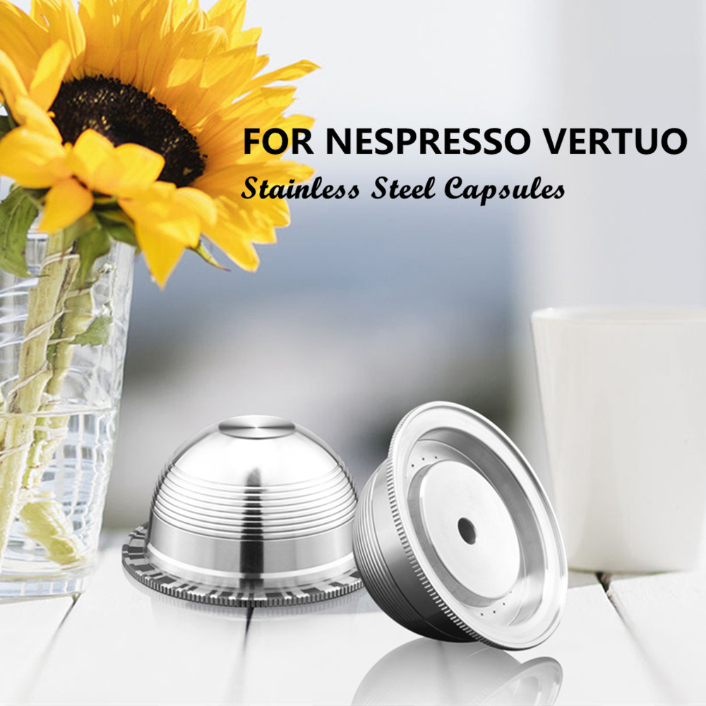 BIG Reusable Coffee Filters For Nespresso Vertuo Vertuoline GCA1 & Delonghi ENV135 Refillable Stainless Steel Coffee Capsule Pod