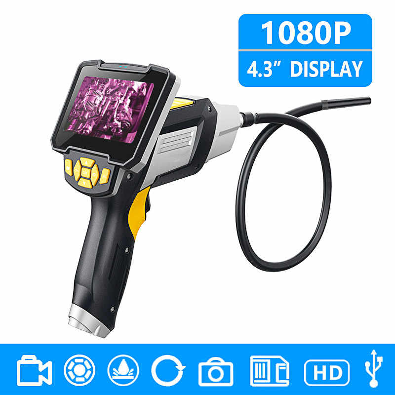 Digital Industrial Endoscope 4.3 inch LCD Borescope Videoscope with CMOS Sensor Semi-Rigid Inspection Camera Handheld Endoscope