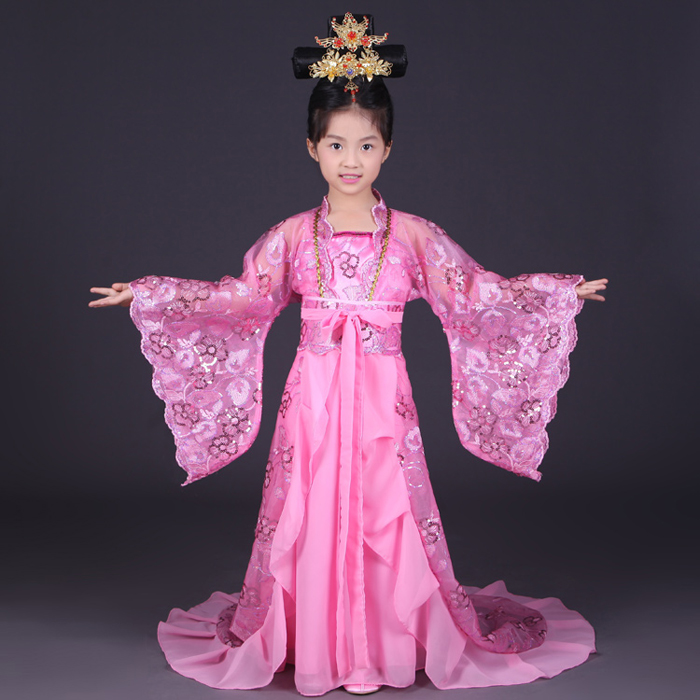 Royal Children Empress Wu Zetian Costume Girl Chinese Traditional Dance Clothing Kids Tang Dynasty Princess Hanfu Tail Clothes