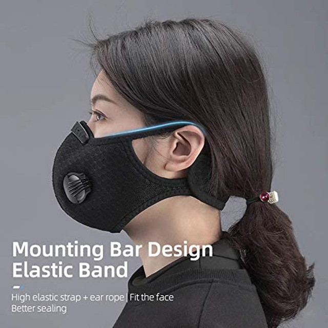 Valve Face Mask With 4 Filters Vent Breathable Respirator Fashion Mouth Cover Masque Bike Outdoor Reusable Protection Mascarilla 2