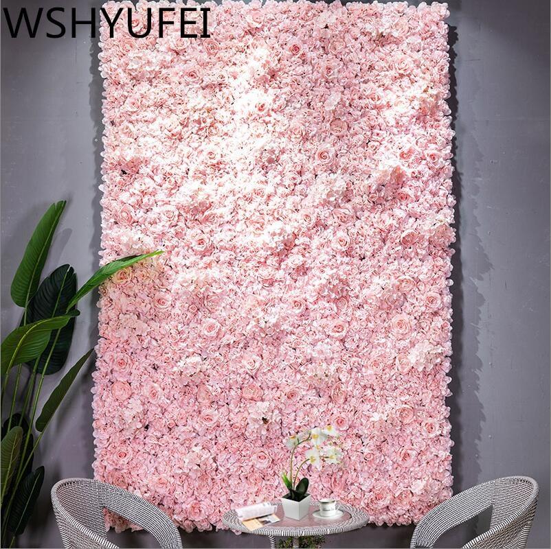 60x40cm Artificial Flower wall decoration Road Lead Hydrangea Peony Rose Flower Mat Wedding Arch Pavilion Corners decor floral