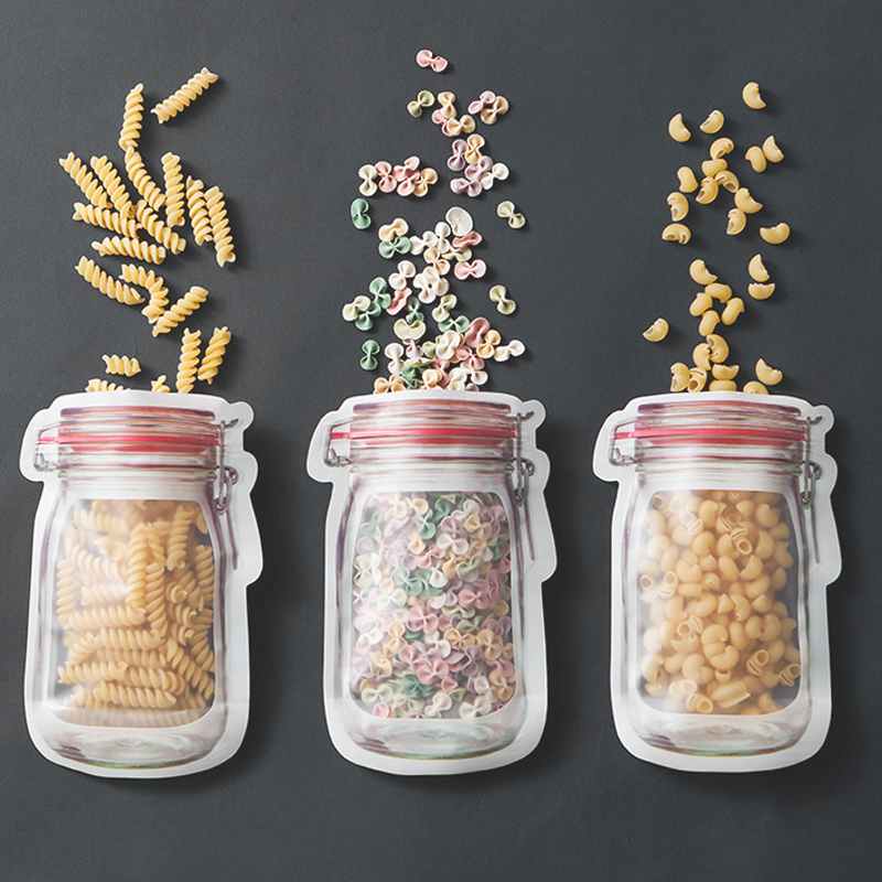 Reusable Mason Jar Bottles Bags Nuts Candy Cookies Bag Waterproof Seal Fresh Food Storage Bag Snacks Sandwich Zip Lock Bags