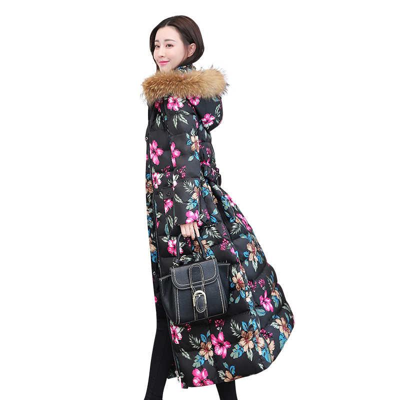 Tcyeek, зимний пуховик, женский, X-Long, пуховик, женская, толстая, теплая одежда, натуральный мех енота, с капюшоном, пальто для девушек, 2018 LWL1051