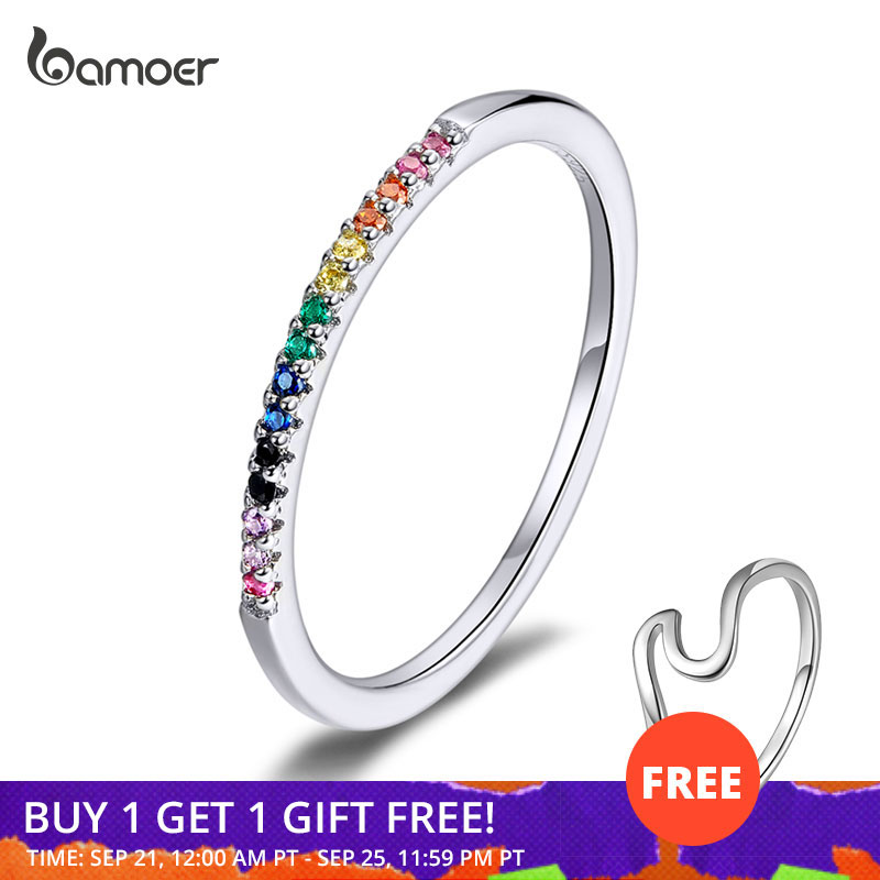bamoer Rainbow Color CZ Finger Rings for Women Stackable Wedding Statement Authentic Sterling Silver 925 Jewelry SCR583(China)