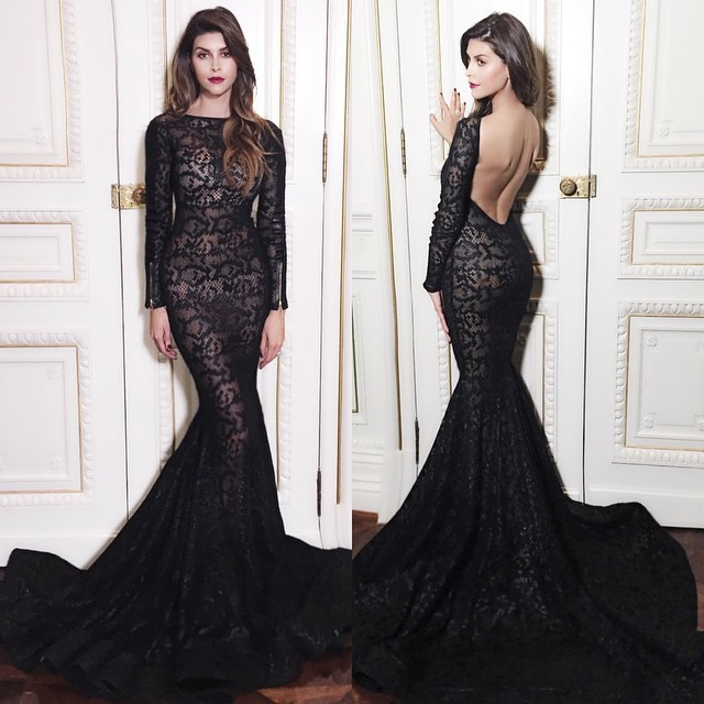 Mermaid sexy Backless Long Sleeves robe de soiree vestido de noiva Evening party Prom gown 2018 mother of the bride dresses