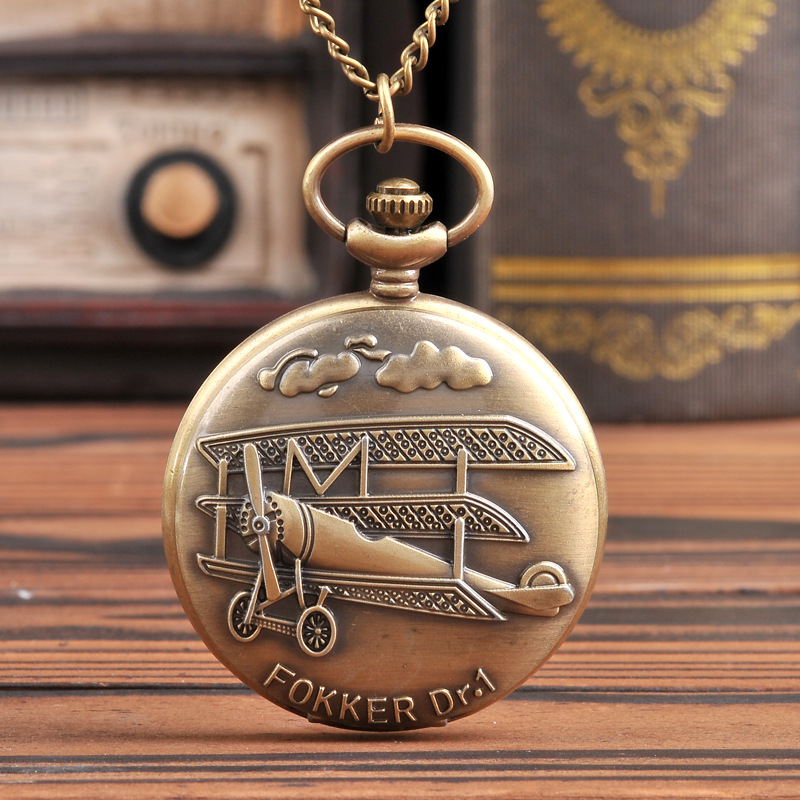 9016Chain Good Watch Gift For Children And Friends Vintage 3D Airplane Design Quartz Pendant Fob Pocket Watch With Necklace image