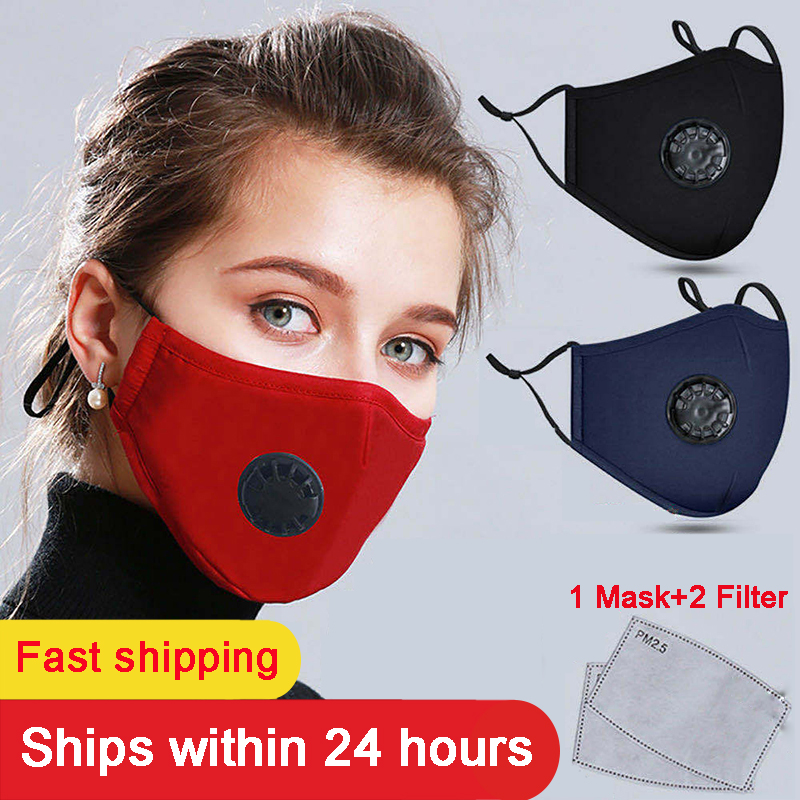 Fashion Men Women PM2.5 Mouth Mask Respirator Washable Reusable Cotton Face Masks Mouth Muffle With 2 Filters Masks Mascarillas
