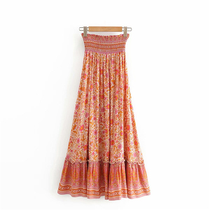 Image 2 - Jupe plissée pour Femme, style Hippie, imprimé floral, style Boho, Vintage, chic, style Boho, style Boho, taille haute, élastique, à volants, ligne a
