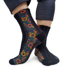 Knitted Cotton Floral Winter socks For Men Sexy Lingerie Ankle Socks dress suit sock Male Formal Sox Business