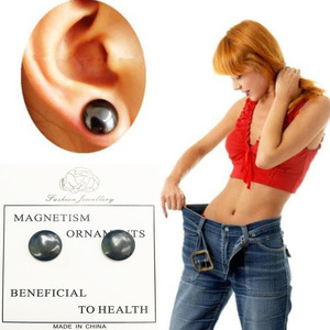 1Pair Women Men Body Slimming Earring Magnetic Therapy Hematite Earrings Weight Loss Ear Studs Lazy Paste Patch Jewelry for Gift