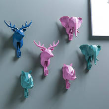 Animal Head Wall Key Holder Coat Hook Decorative Clothes Display Rack Hook Coat Cap Rack Interior Showcase Wall Bag Key Hanger(China)