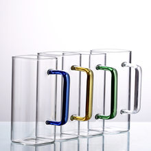 Square Transparent Glass Cup with Color Handle Water Cup for Household Juice Drink Single Layer Glass Cup Mug