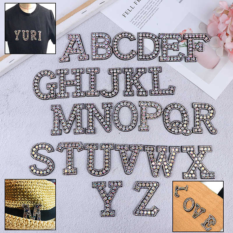 3D A-Z Iron On letters Patch 1pcs  Rhinestone English Alphabet Letter Applique For Clothing Badge Paste For Clothes Bag Shoes