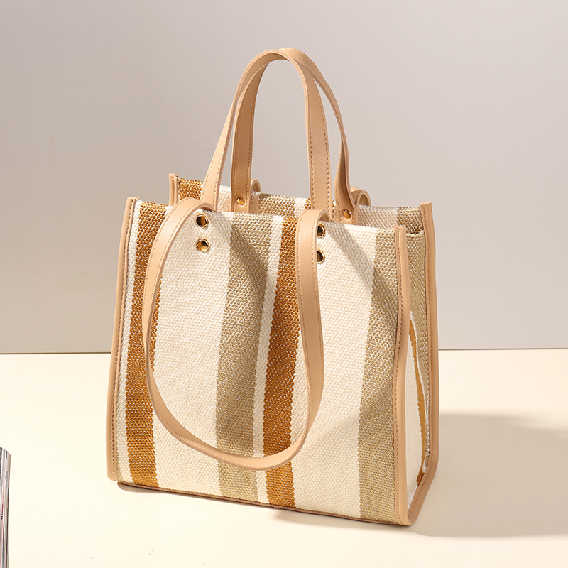 Women Handbags Casual Striped Tote Bags Shoulder Bags New Fashion Cotton Linen Evening Bag For Women Bolsas Beach Casual Style