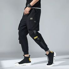 2020 Spring Men Harem Pants Black Hip Hop Joggers Multi-pocket Ribbons Man Sweat