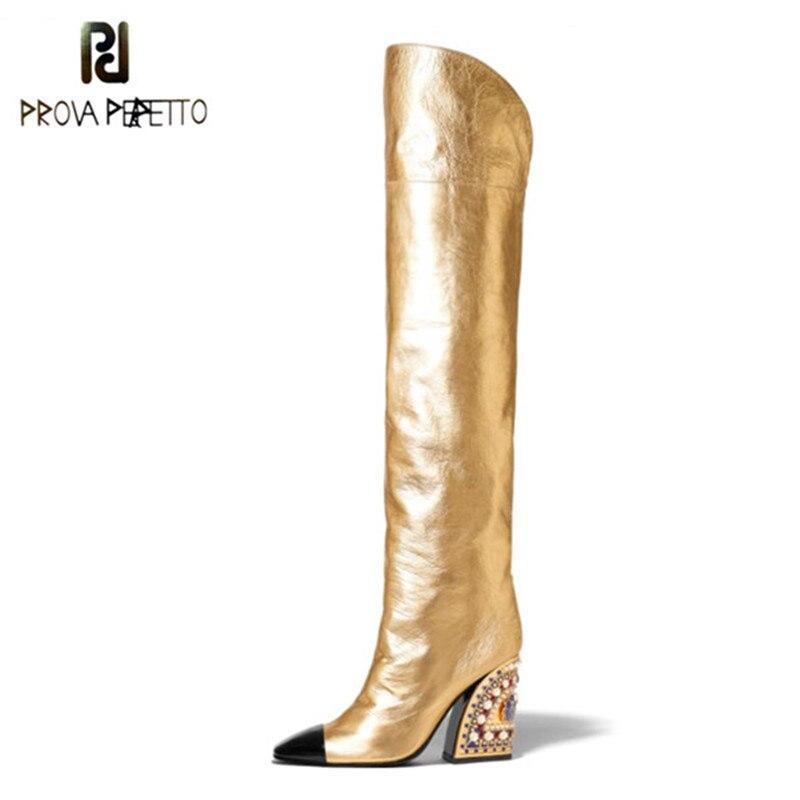 2019 mais novo ouro coxa botas altas mulheres ponto toe cor misturada strass grânulo salto alto bota senhora sapatos pista mulher cavaleiro bota
