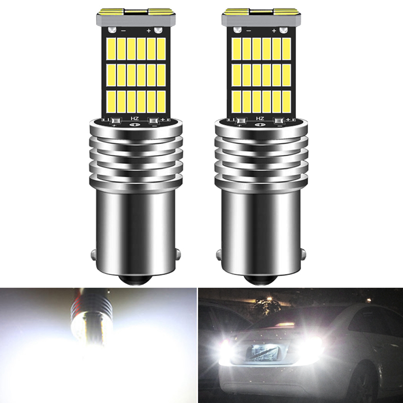 2pcs Canbus No Error 1156 P21W BA15S LED Daytime Running Light Bulb Lamp For Skoda Superb Octavia 2 FL 2011 2012 2013 White 12V