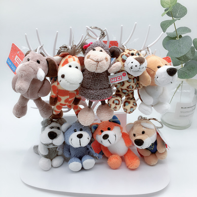 Cute 10cm Germany Jungle Brother Tiger Elephant Monkey Lion Giraffe Plush Animal Keychain Mobile Phone Pendant Toy Gift