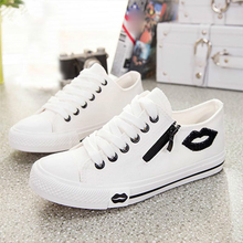 2019 New Womens Casual Shoes Flats Breathable Lip Zipper Fashion Classic Outdoor Canvas For Women Girls Students756