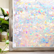 Stained Window Privacy Film Static Window Clings Vinyl 3D Window Decals Rainbow Window Stickers for Glass Door Home Heat Control