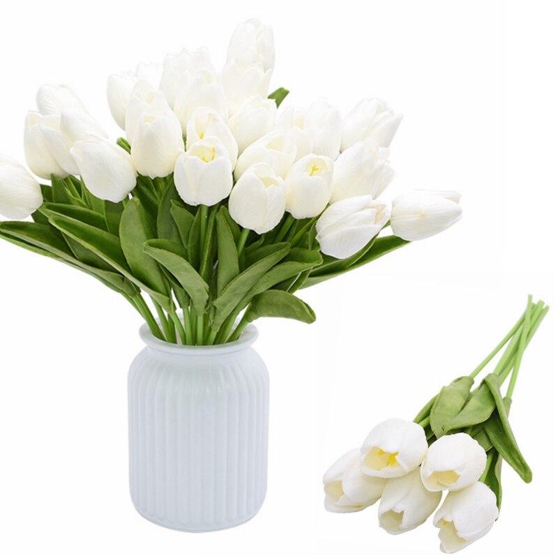5/10 Uds tulipanes flores bonsái, flor artificial de pu de tacto real Tulp ramo Mariage Calla para casa decoración para fiesta de boda Vintage Tulip forma carillón de viento japonés campana colgante Feng Shui de hierro de jardín de casa ventana Cafe Bar decoración colgante de pared-