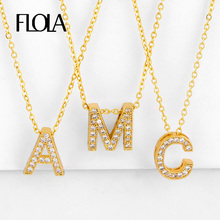 FLOLA Gold 26 Initial Letter Necklace For Women With Crystal Letter Necklace Alphabet CZ Pave Cubic Zirconia Jewelry nkeq03