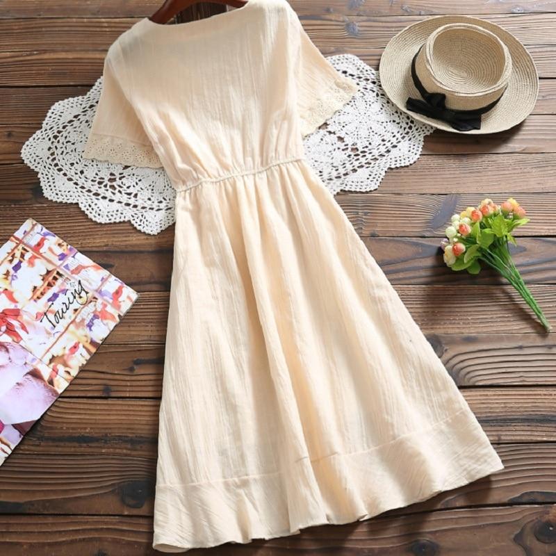 Kawaii Summer Cotton V Neck Dress 12