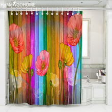 Artistic Poppy Flowers Shower Curtains for Bathroom Waterproof Shower Curtain Rainbow Wood Grain Curtain Bath Shower Curtains