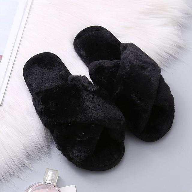Winter Shoes House Slippers Warm Faux Fur Soft Plush Furry Fashion Shoes 3
