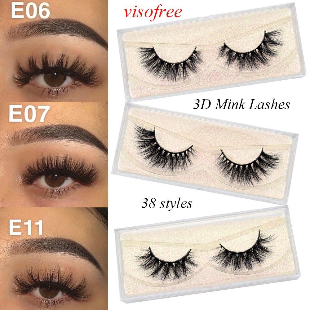 Visofree Mink Eyelashes Natural Long 3d Mink Lashes Hand Made False Lashes Plastic Cotton Stalk Makeup False Eyelashes