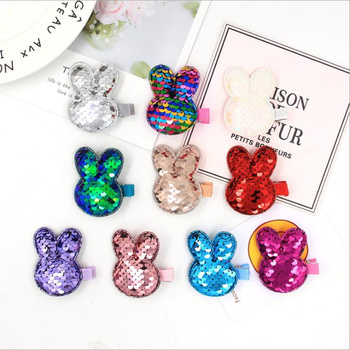 2020 New Fashion Version Of The Double-sided Fish Scale Sequins Rabbit Cute Baby Hair Accessories Girls Side Clips Sprouting Chi image